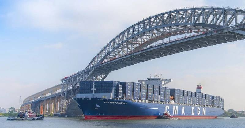 The Bayonne Bridge (The growth in part can be attributed to the completion in June 2017 of the Bayonne Bridge Navigational Clearance Project, which raised the clearance under the bridge from 151 feet to 215 feet, allowing the world's largest container ships to pass under it and serve port terminals in New York and New Jersey.) Credit: Port NY/NJ