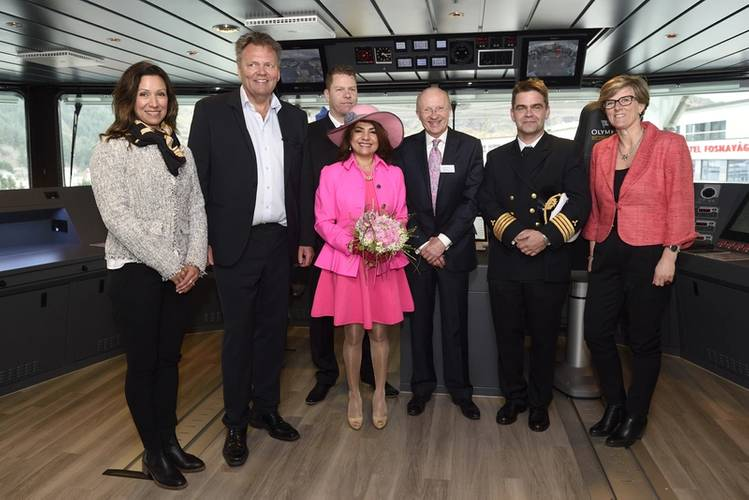 On the bridge after the naming ceremony: From left: Oddlaug Remøy, Stig Remøy (ship owner, Olympic Shipping), Johnny Fredriksen (Chief), Connie Brown (Lady sponsor), Mike Brown (Chairman, Bibby Offshore), Bjørnar Jenset (Master), Kjersti Kleven (Chairman, Kleven). (Photo courtesy of Kleven)