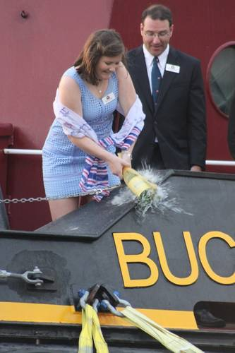 Buckley's McAllister's daughter Janet (6th generation) completes the champagne christening honors. (Photo: Greg Trauthwein)
