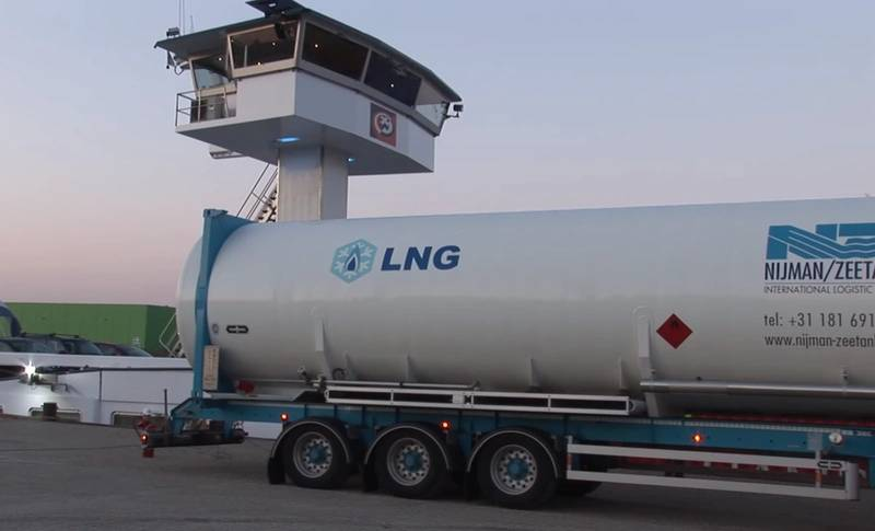 An LNG bunkering bunkering truck at the port of Rotterdam (CREDIT: Port of Rotterdam