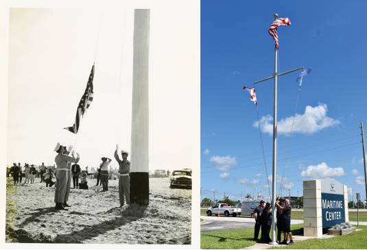 Port Canaveral flag raising – then and now. (Canaveral Port Authority)
