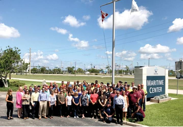 Port Canaveral staff gather to for flag raising. (Canaveral Port Authority)