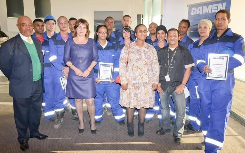 Certificate Ceremony - Training Center Apprentices that received their certificates and Sam Montsi, Minister Ploumen and Sefale Montsi-Zuma and Dedrick Ross