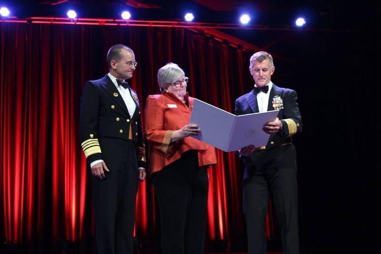 Adm. Charles D. Michel, Vice Commandant of the Coast Guard; Anne Brengle, president, Coast Guard Foundation; and Adm. Paul F. Zukunft, Commandant of the Coast Guard (Photo: Coast Guard Foundation)