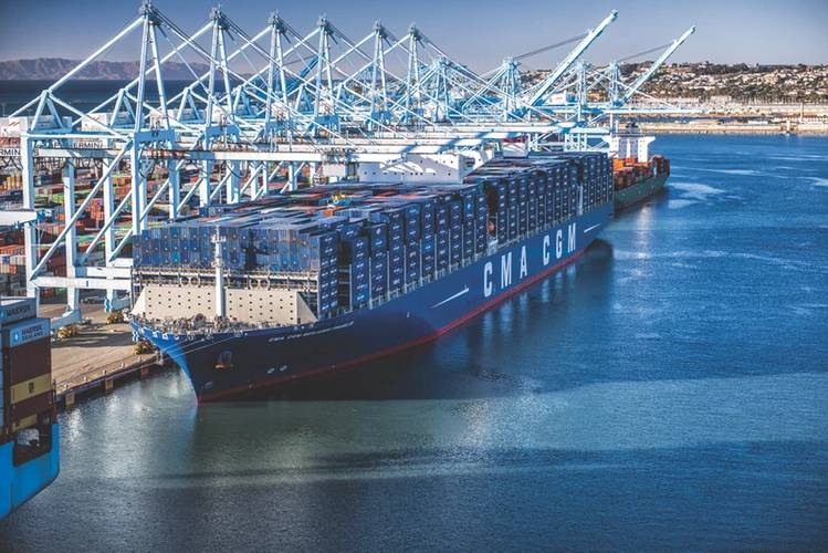 The CMA-CGM Ben Franklin, an 18,000 TEU containership, was, in 2015, the largest vessel to call on a U.S. port.) (Photo: Marad)