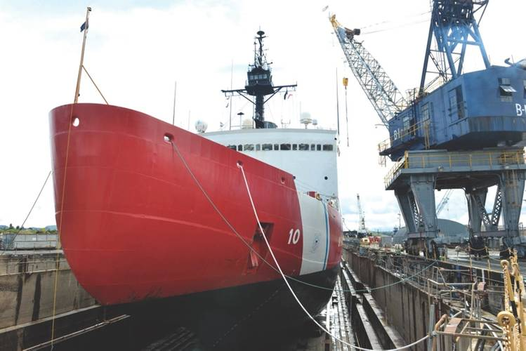 Coast Guard Cutter Polar Star sits on blocks in a Vallejo, Calif., dry dock facility undergoing depot-level maintenance including inspections and repairs to critical cutter components prior to the cutter's next patrol, April 16, 2018. As activity in the Polar Regions continues to grow, the Coast Guard maintains their aging icebreaking assets to protect U.S. security, environmental and economic interests in these regions of the world. U.S. Coast Guard photo by Petty Officer 1st Class Matthew S. M