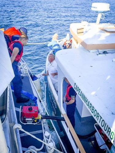 Coast Guard responds to harbor cruise boat with 34 people aboard taking on water near Gloucester, Mass. Courtesy USCG