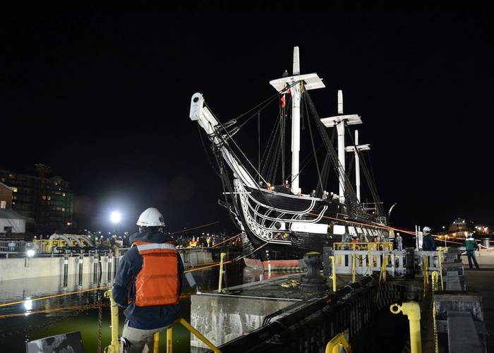 USS Constitution enters Dry Dock 1 in Charlestown Navy Yard. (U.S. Navy photo by Mass Communication Specialist 3rd Class Victoria Kinney/Released)