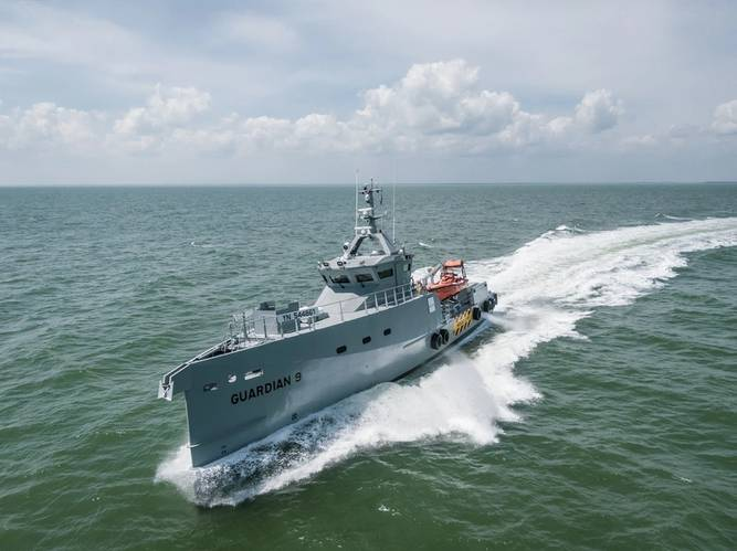 Damen recently delivered a pair of FCS 3307 high-spec patrol vessels to be operated by Homeland Integrated Offshore Services (Homeland IOS Ltd) in Nigeria. Photo: Damen