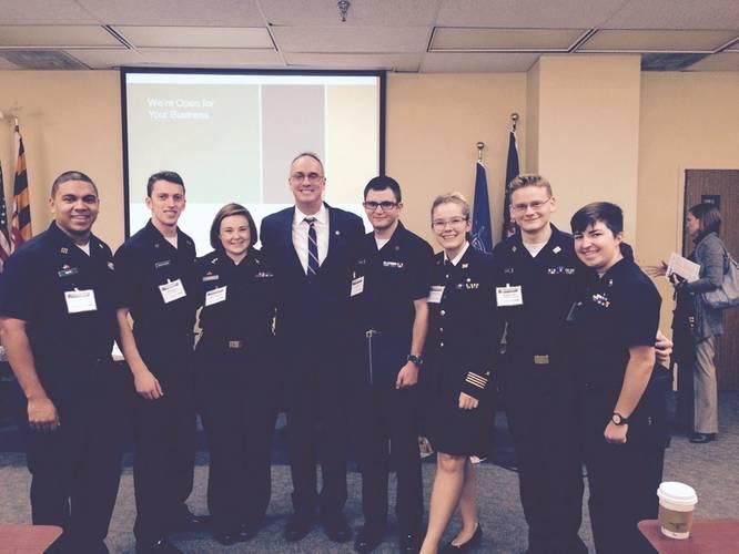 Doyle with Mass. Maritime Academy cadets (Photo: FMC)