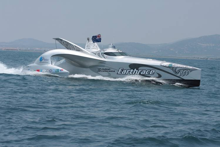 Earthrace at the finish line in 2008