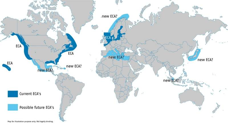 Map of the Emission Control Areas (ECA) in the U.S. and Canada as well as North Sea, English Channel and the Baltic Sea