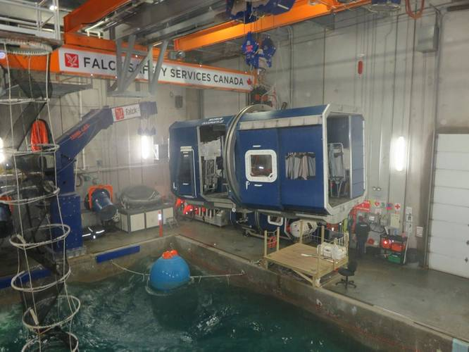The 'helicopter cabin' (blue box structure) positioned above the pool. The 'offshore worker' is inside the cabin. (Photo: Tom Mulligan)