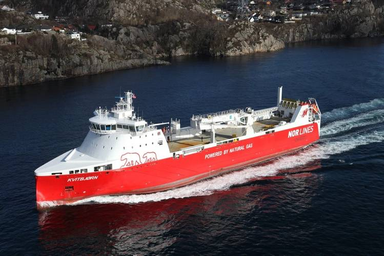 Nor Lines vessel, MV Kvitbjorn (Photo Samskip)
