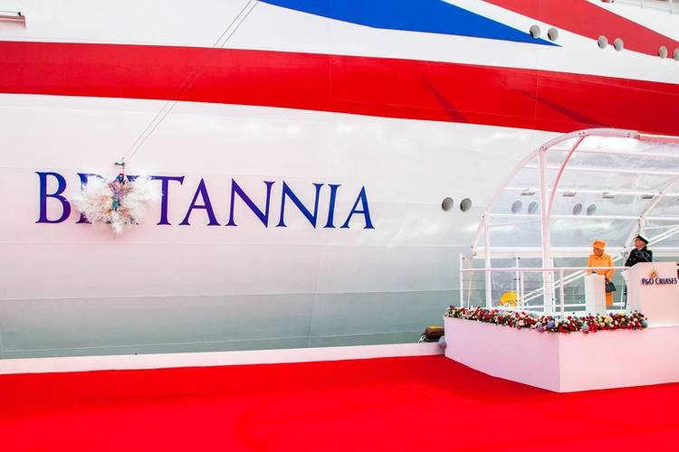 Her Majesty The Queen, accompanied by His Royal Highness The Duke of Edinburgh, officially named P&O Cruises new flagship Britannia. (Photo by James Morgan, © P&O Cruises)