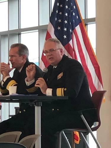 RADM Michael Alfultis, President, SUNY Maritime College (Right). Photo: Greg Trauthwein
