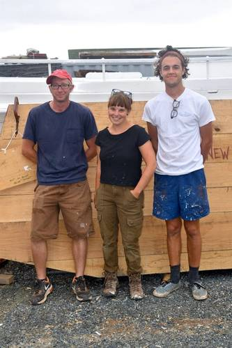 From left, Michael Allen, Lauren Gaunt, and Spencer Sherwood, three shipwrights apprentices who have joined the Chesapeake Bay Maritime Museum for the 2016-2018 restoration of the historic bugeye Edna Lockwood. (Photo: The Chesapeake Bay Maritime Museum)
