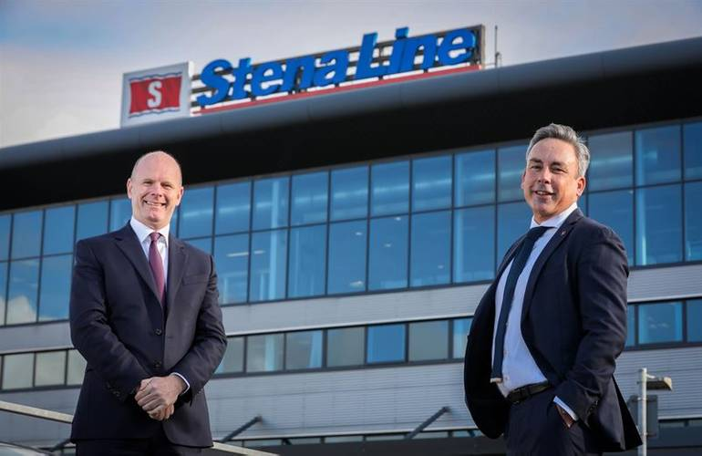 Joe O'Neill, Chief Executive of Belfast Harbour and Paul Grant, Trade Director Irish Sea outside Stena Line terminal in Belfast. Photographer: Stena Line