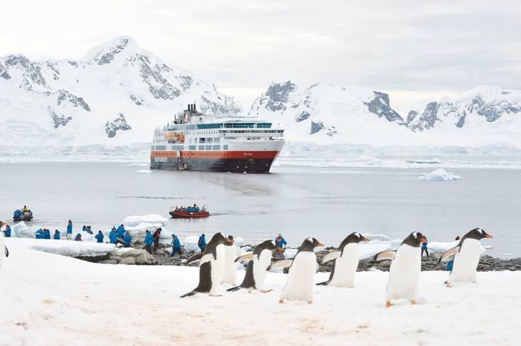 Onshore fun: Hurtigruten personnel at Neko Harvour, Antarctica (Credit: Marsel van Oosten/courtesy Hurtigruten AS)
