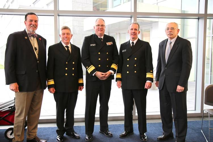 """""""The President's Panel"""" helped to bring the 10th Annual Maritime Risk Symposium to a close yesterday. (L to R); Eric Johansson, SUNY Maritime; RADM Michael E. Fossum, Superintendent, Texas A&M Maritime Academy; RADM Michael Alfultis, President, SUNY Maritime College; RADM Francis X. McDonald, President of Massachusetts Maritime Academy, and moderator RADM Fred Rosa (USCG, Ret.), Johns Hopkins APL. (Photo: SUNY Maritime)"""