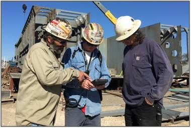 Production Team Leaders Carry Ruggedized Tablets and Stay Connected to Project (Photo: Horizon)