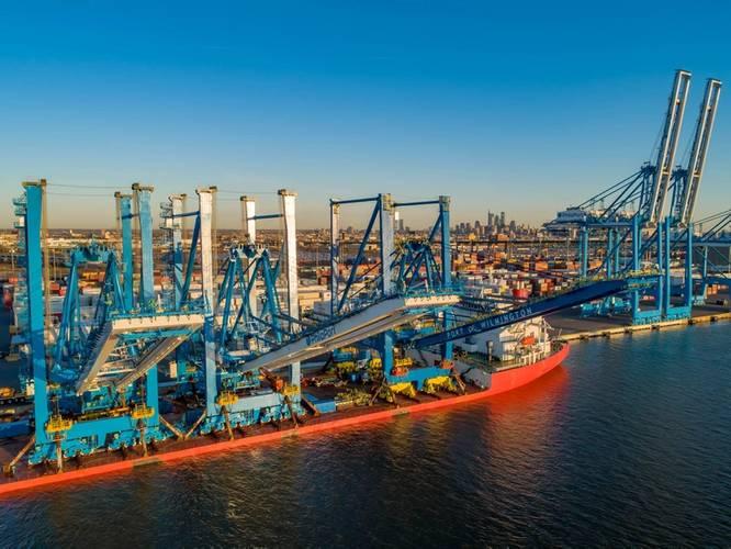 Recent crane deliveries to Greenwich Terminals in Philadelphia, PA / CREDIT: Philaport