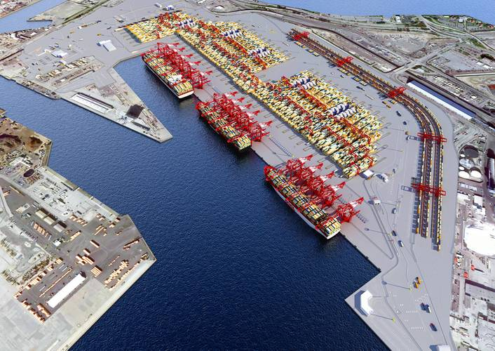 A rendering of the port of long Beach middle harbor piers.