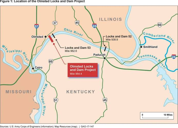 Rendering of the Olmsted Lock and Dam and surrounding river infrastructure (Credit: GAO)