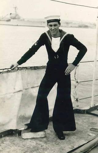 Robert Griffin on board HMS Meon (Photo: Sailors' Society)