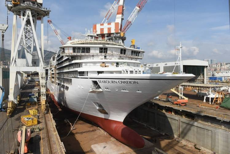 Seabourn Ovation is being built by Italian shipbuilder Fincantieri at its shipyard in Sestri, Genoa. (Photo: Fincantieri)