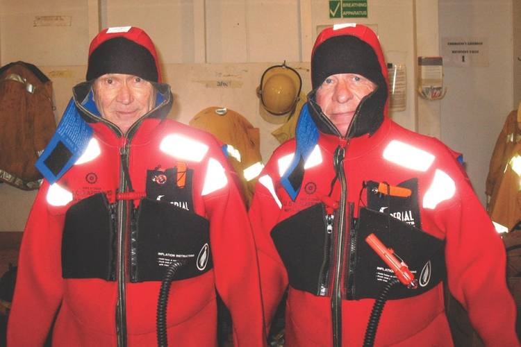 Special thanks to Christian Rothenberger (left) and Heinz Wanzenried (right), Captain Bernhard's father-in-law. The pair are pictured donning survival suits onboard MahiMahi.