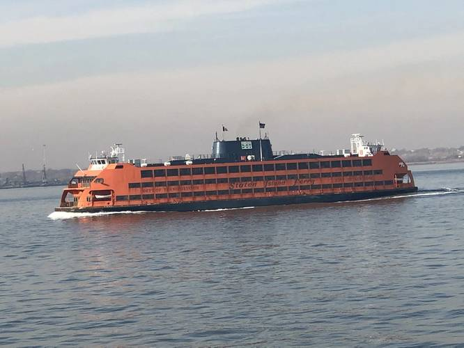 The Staten Island Ferry is an iconic part of New York City's history and future, carrying more than 25.2 million passengers on a 5-mile, 25-minute trip per year, for free, courtesy of about 40,404 trips made annually. Photo: Greg Trauthwein