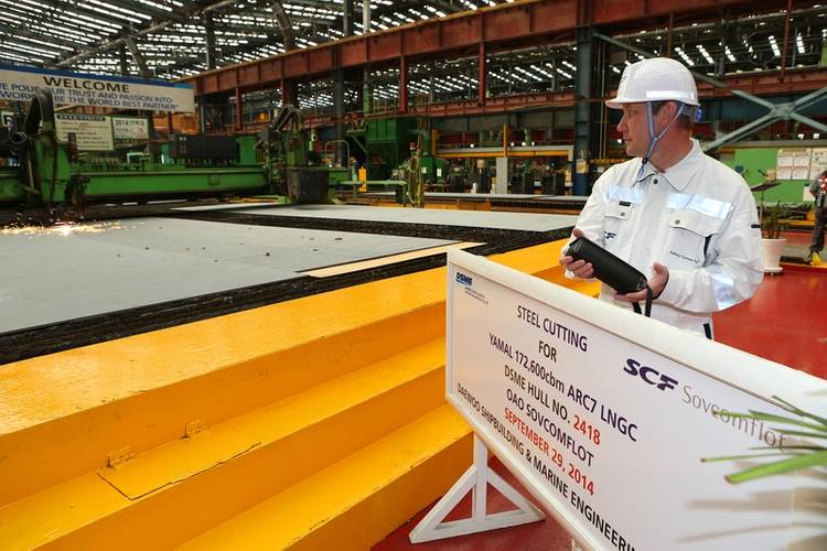 A steel-cutting ceremony in South Korea marked the start of construction on a LNG tanker vessel ordered by SCF Group for the Yamal LNG project (Photo courtesy of SCF Group)