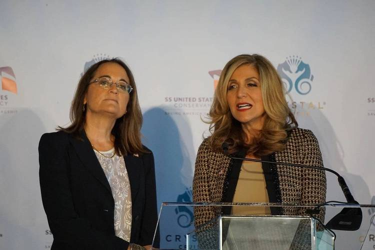 Susan Gibbs (left) and Edie Rodriguez at the February press conference announcing plans to save the SS United States (Photo: Eric Haun)