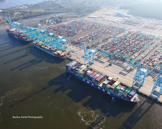 Three ships working cargo at VIG. Image Credit: Port of virginia