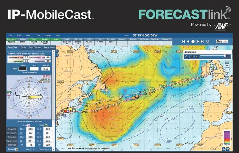 KVH's TracVision satellite tracking application as shown on A AWT's Forecast link delivered onboard via KVH's IP-MobileCast. pple Computer's iPhone and iPad. (Image: KVH)