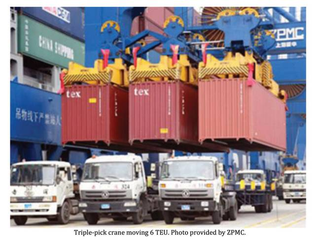 Triple-pick crane moving 6 TEU.