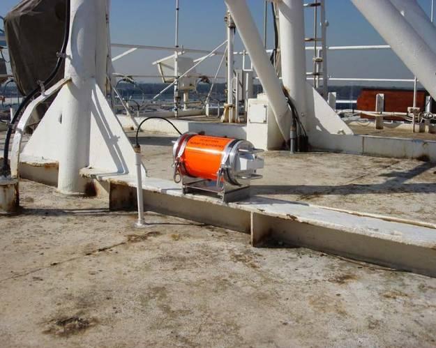 Voyage data recorder capsule on top of El Faro prior to sinking (Photo: NTSB)