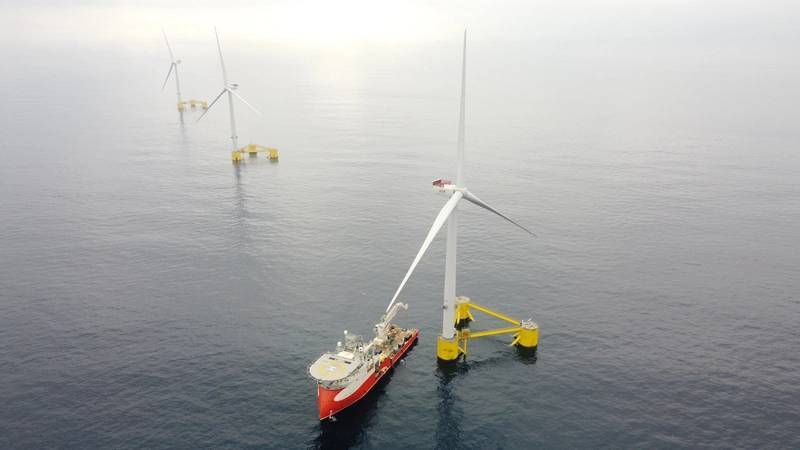 WindFloat Atlantic  the world's first first semi-submersible floating wind farm, located 20km off the coast of Viana do Castelo, Portugal. Image courtesy EDP Renovables