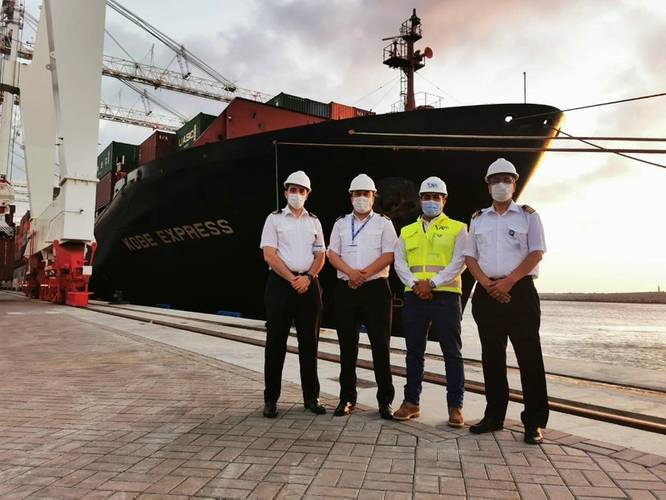 Wärtsilä Voyage and Tanger Med enable first real-life digital port call for Hapag-Lloyd vessel. Container ship Kobe Express pictured. © Tanger Med